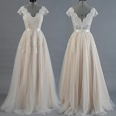 A Line Lace Tulle Vintage Boho Long Prom Evening Wedding Dress Bridal Gown