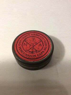 Made In Western Germany Navy Arms Co. Percussion Cap Tin Vintage Military Box Ad