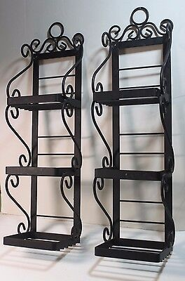 Pair Metal 3 Tier Plant Flower Pot Holder  Wall Mount Black Contemporary Design
