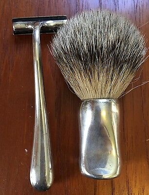 Tiffany Sterling Razor and Sterling Handle Shaving Brush