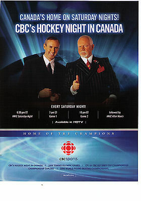 2006 CBC Hockey Night In Canada Vintage Print Advertisement