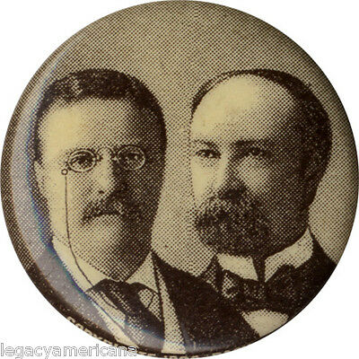Original 1904 Theodore Roosevelt Charles Fairbanks Jugate Campaign Button (4550)