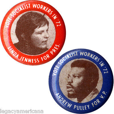 1972 Jenness Pulley Socialist Workers Party Presidential Button Set (5125)
