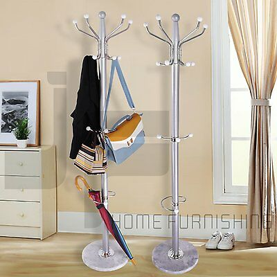 1.77m 15 Hook Clothes Hat Coat Umbrella Stand Rack Garment Hanger Iron Metal