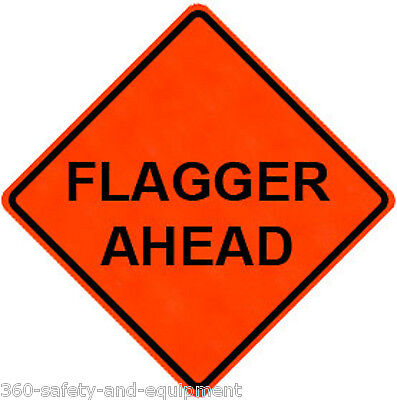 """Flagger Ahead 36"""" X 36"""" Vinyl Fluorescent Roll Up Sign With Ribs"""