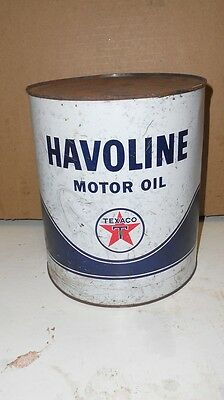 Vintage Texaco Havoline  1 Gallon Oil Can   All Metal Can