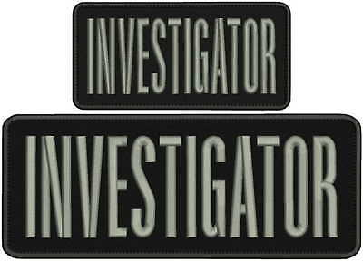 investigator embroidery patch 4x10 and 3x6 inches silver letters