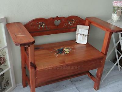 Hand Painted Vintage Timber Love Seat Storage Box Chest Adel - Bench Chair seat