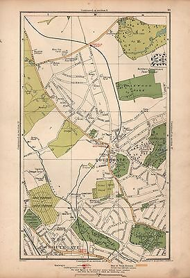 1933 London Map-Enfield West Southgate New Southgate Arnos Grove