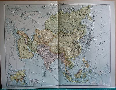 1919 Large Map- Asia-Political, Inset Population Map