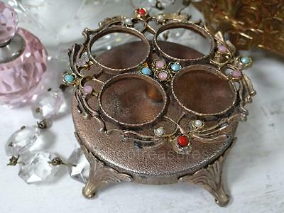 Ornate Footed Vintage Filigree Gold LIPSTICK  Vanity Holder - with Pretty Stones