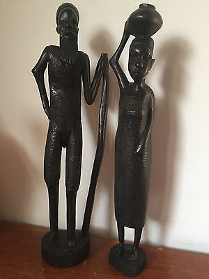 Pair of Vtg Hand Carved Wood Statues Man & Woman Kenya Tribal Couple Handcrafted