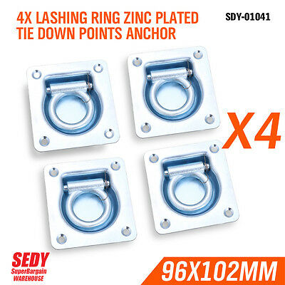 4 X Lashing Ring Zinc Plated Tie Down Points Anchor Ute Trailer 96 X 102Mm