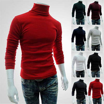 Men's Fashion Casual Turtle Neck Pullover Slim Fit Long Sleeve Tops T-shirt p1