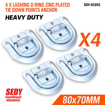 4 PCs LASHING D RING ZINC PLATED TIE DOWN POINTS ANCHOR UTE TRAILER 80X70MM 1051