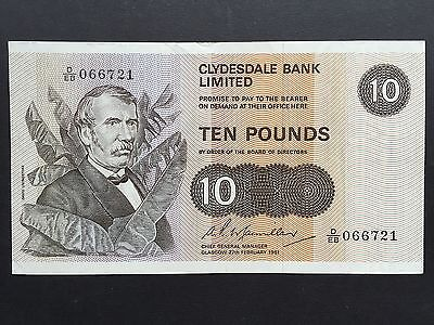 Scotland 10 Pounds P207b Clydesdale Bank D/EB 066721 Date 27th February 1981 VF+