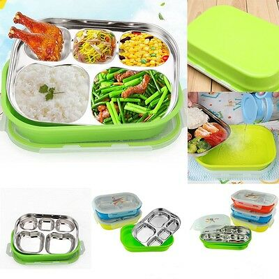 Insulated Thermal Square Lunch Bento Box Food Container 5 Grid Stainless Steel