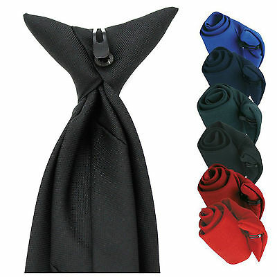 Mens Plain Clip On Tie Security Doorman Bouncer Funeral Wedding Formal 6 Colours