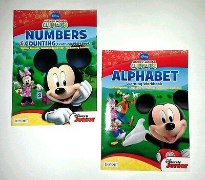 SET Mickey Mouse Clubhouse Workbooks Numbers Alphabet Letters DISNEY Jr. Minnie