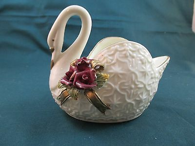 Ceramic White Swan With Gold Trim Dish - Great Condition