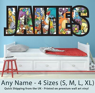 Childrens Name Wall Stickers Art Personalised Pokemon for Boys / Girls Bedroom