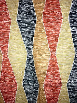 Unused Vintage Retro 1950s Barkcloth Fabric Material Textile Red Black Abstract