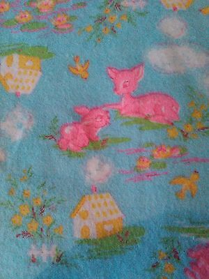 Vintage Retro 40s 50s 60s Childrens Nursery Fabric Material Deer Bambi Bunny