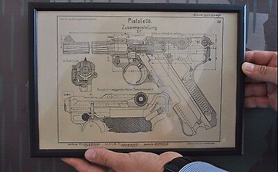 WWII German Luger Pistol Patent Print Framed P08 WW2 P.08 Original Reproduction