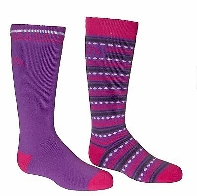 Bridgedale Merino Ski Socks 2-Pack, Small, Purple/Fuchsia