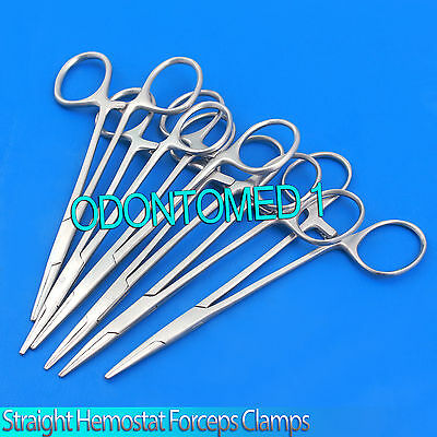"New Set of 12 5"" Straight Hemostat Forceps Locking Clamps Stainless Steel"