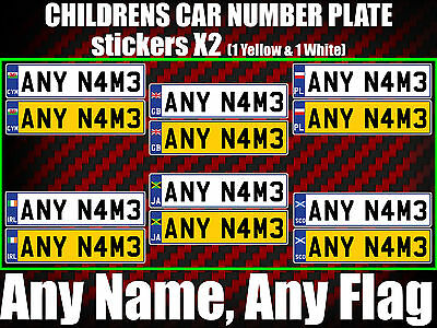 KIDS CHILDREN NUMBER PLATE STICKERS ride on hoverboard car truck jeep buggy pram