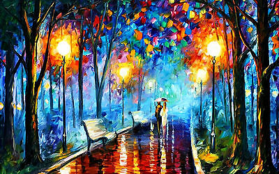 "Couples in Love Rainy Night Painting Large Canvas Print  A1 30"" x 20"""