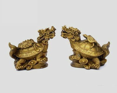 Chinese Brass Copper carved Dragon Turtle Statue pair