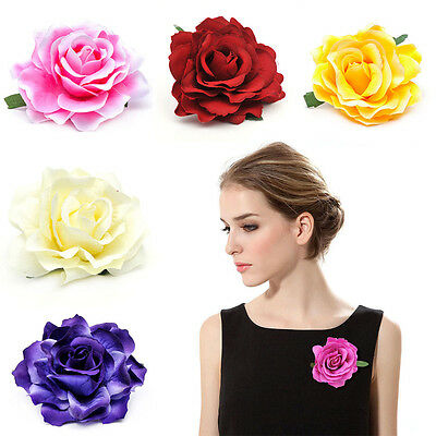 Bridesmaid Bridal Hair Clip Wedding Brooch Rose Flower Hairpin