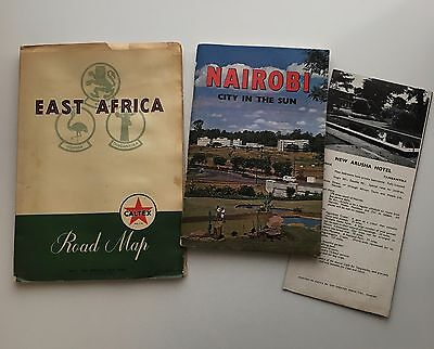 Vintage East Africa Road Map Nairobi Travel Guide + Map Hotels Brochure 1950s