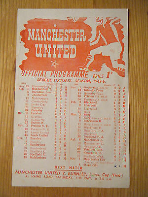 1945 / 1946 MANCHESTER UNITED v  STOKE CITY FOOTBALL PROGRAMME
