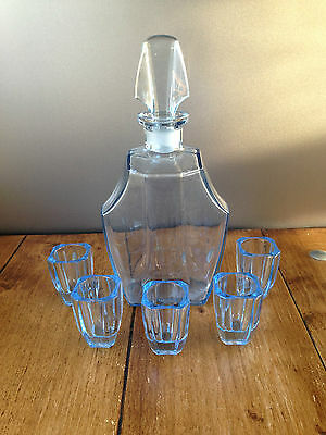 Gorgeous Czech Art Deco Ice Blue Glass Decanter Set With Glasses - Cocktail Bar