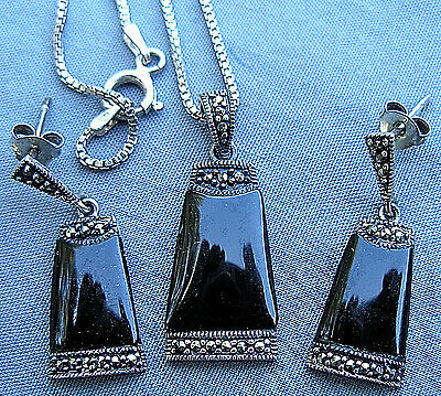 """STERLING ONYX 19"""" BOX CHAIN NECKLACE & PIERCED EARRINGS w/ MARCASITE ACCENTS"""