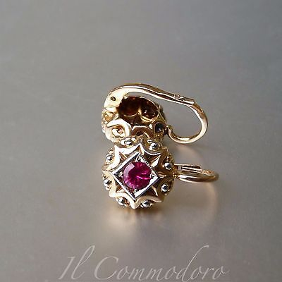 Antique 18 ct Gold Earrings With Rubies
