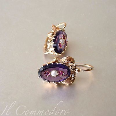 Antique Gold Earrings With Amethyst and Pearls