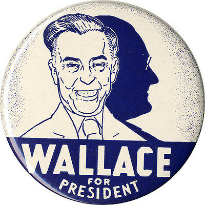 Classic 1948 Henry Wallace Casting FDR's Shadow Campaign Button