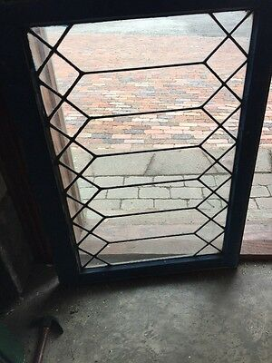 Sg 1055 Antique Leaded Geometric Pattern Window 24 And Three-Quarter By 34 1/2