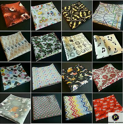 Various Fun Pattern Themed Vibrant Bright Pocket Square Novelty Handkerchief