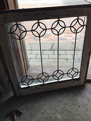 "Sg 1060 Antique Leaded Glass Window Diamonds In Circles 24.5"" X 25.5"""