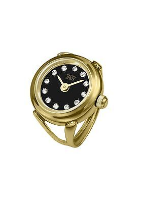 Davis 4175 - Womens Finger Ring Watch Yellow Gold Black Dial Swarovski Crysta...