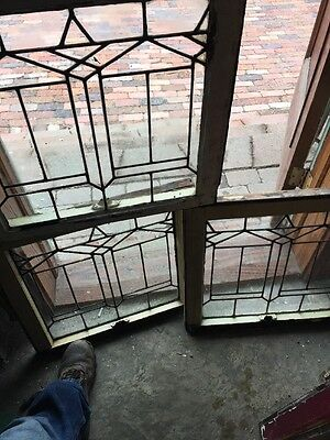 Sg 1061 Three Available Price Separate Antique Leaded Glass Window 22.5 X 21.5""