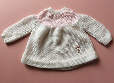 Vintage Baby Girls Jumper Pink White 3-6 Months