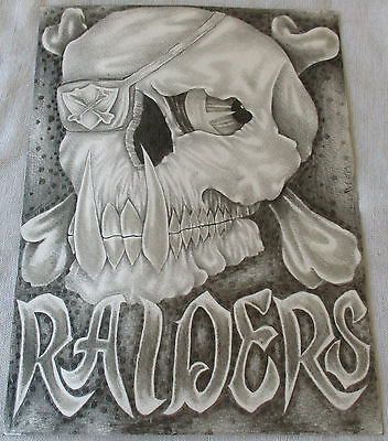 Original Prison Art  'NATION' Oakland Raiders Charcoal Drawing