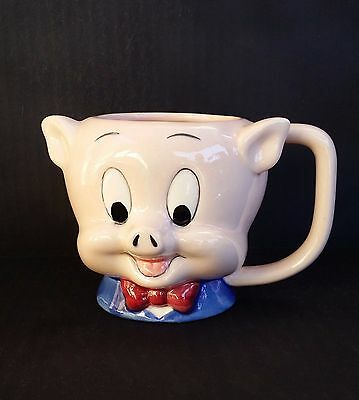 Vtg 1989 Porky Pig painted ceramic Coffee Cup 3D Character Mug Warner Bros MINT!