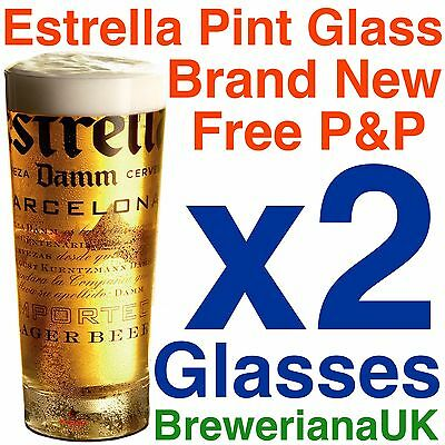 Set Of 2 Estrella Damm Pint Glasses 20oz Brand New 100% Genuine